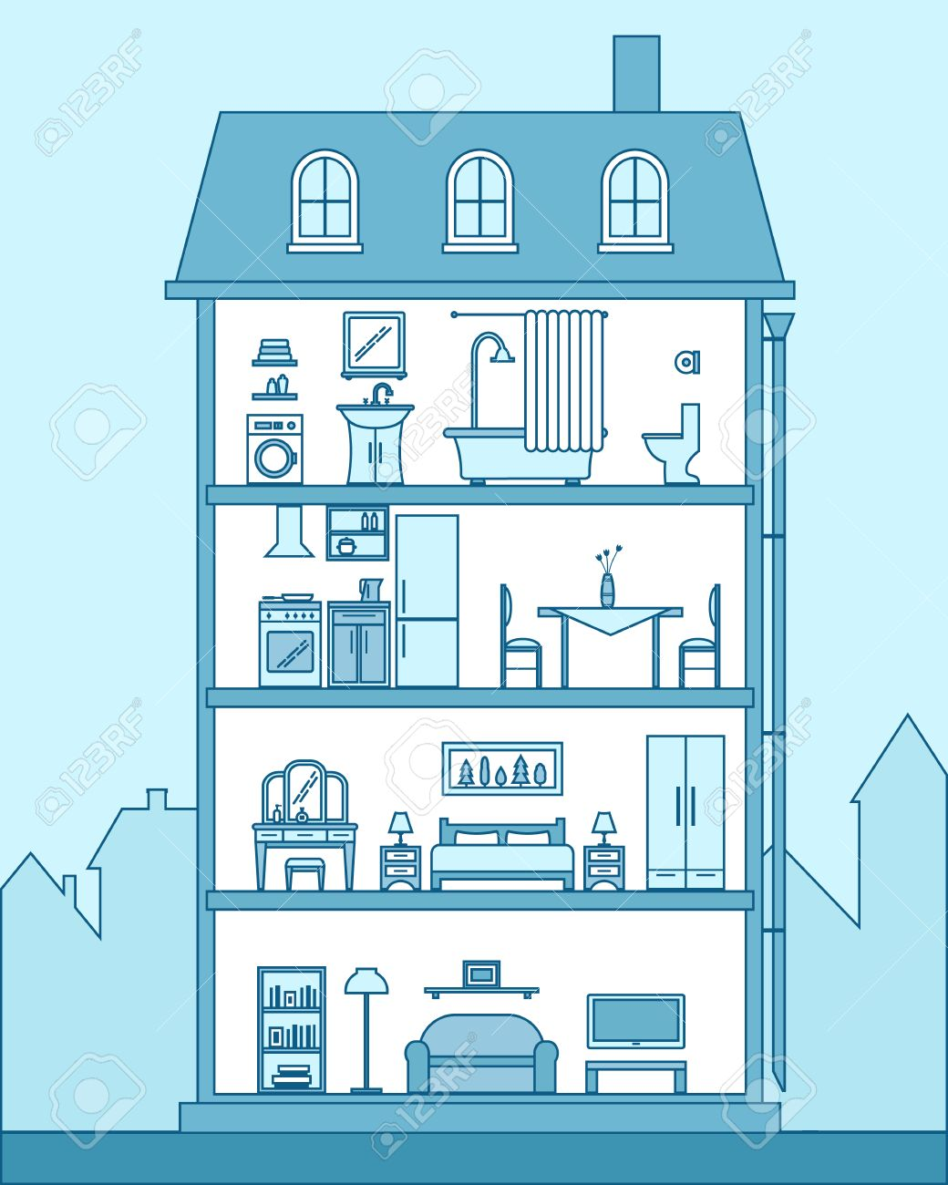 House in cut. Detailed modern house interior. Rooms with furniture. Flat line style vector illustration. - 42448532