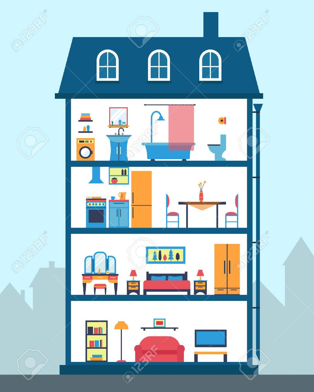 House in cut. Detailed modern house interior. Rooms with furniture. Flat style vector illustration. - 42448560