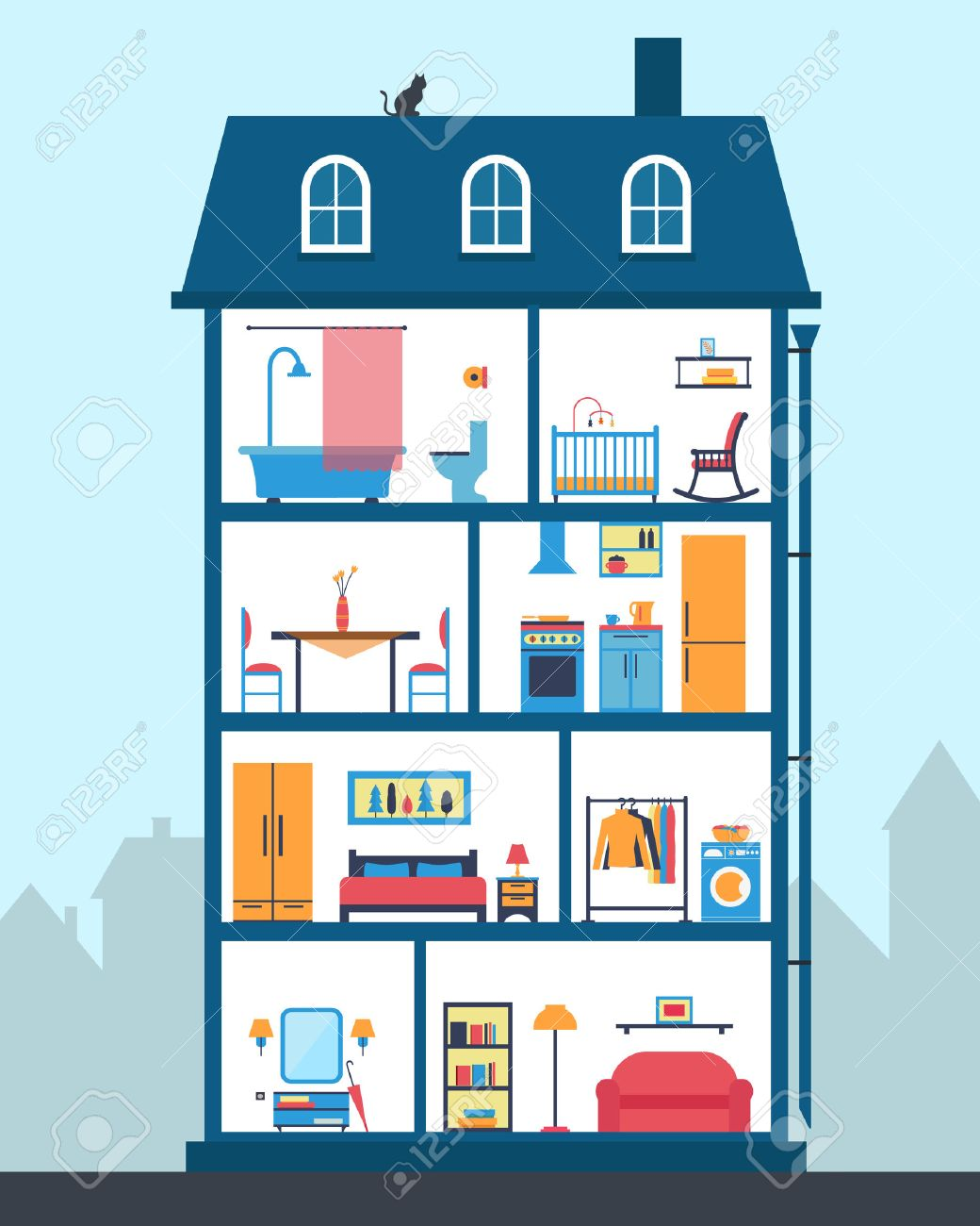 House In Cut. Detailed Modern House Interior. Rooms With Furniture. Flat  Style Vector