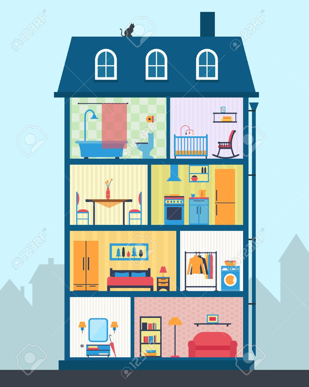 All rooms in the house rooms of homes vector art image illustration - House In Cut Detailed Modern House Interior Rooms With Furniture Flat Style Vector