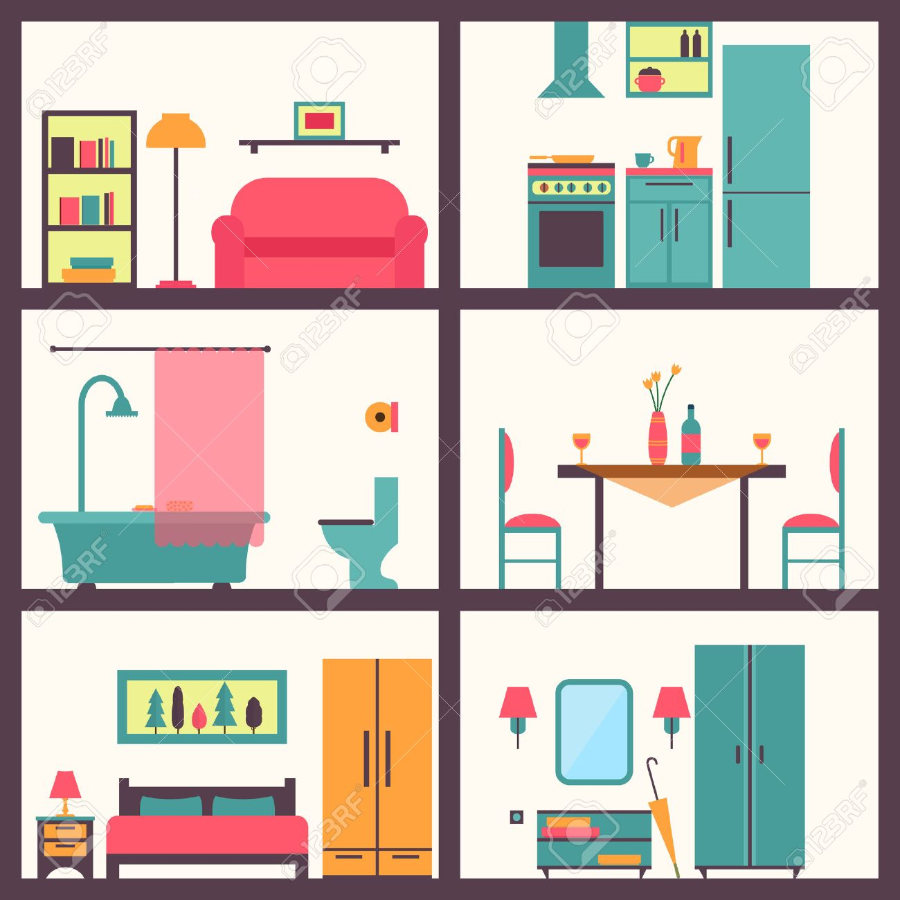 House in cut. Detailed modern house interior. Rooms with furniture. Flat style vector illustration. - 42448572