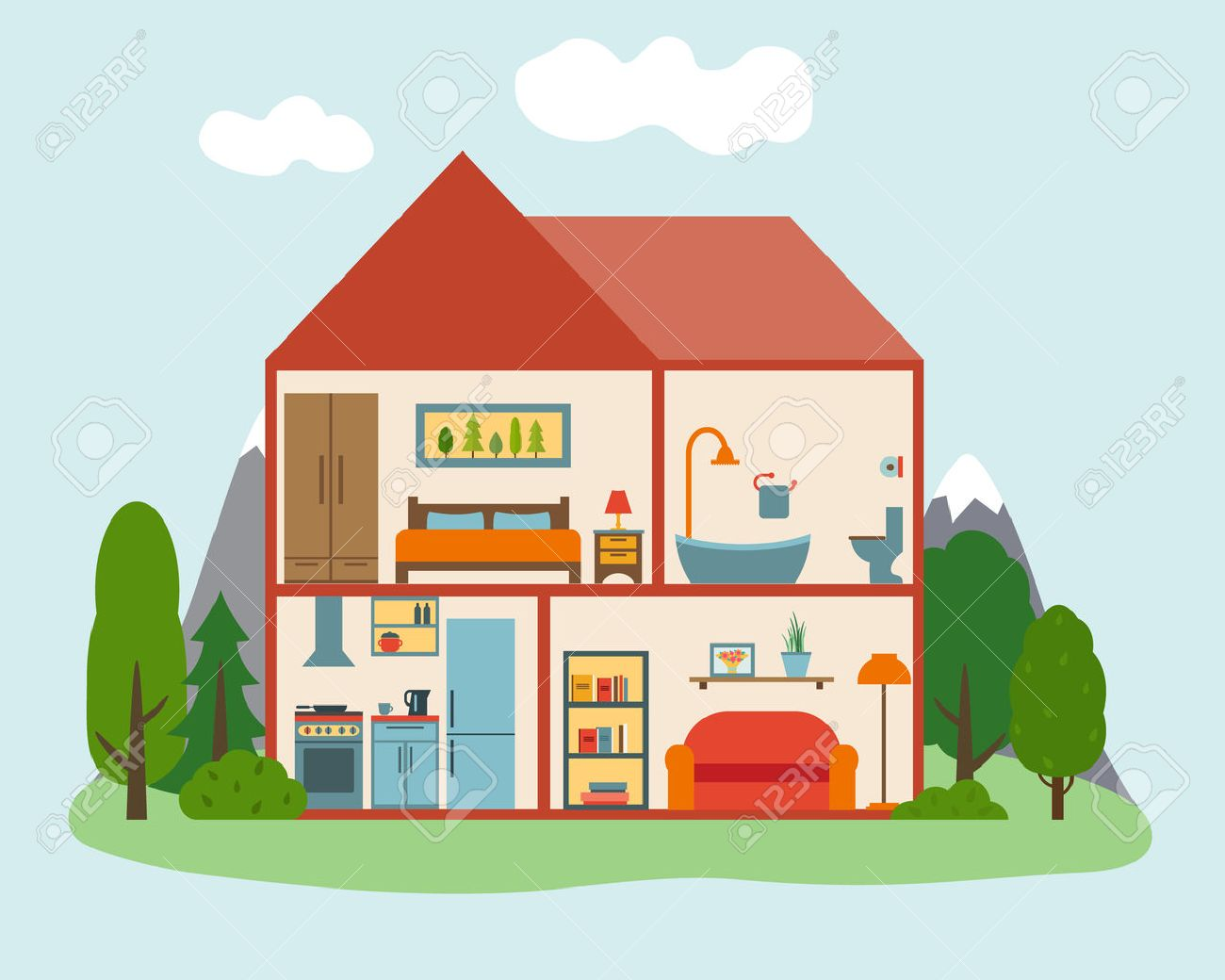 House in cut. Detailed modern house interior. Rooms with furniture. Flat style vector illustration. - 42448584