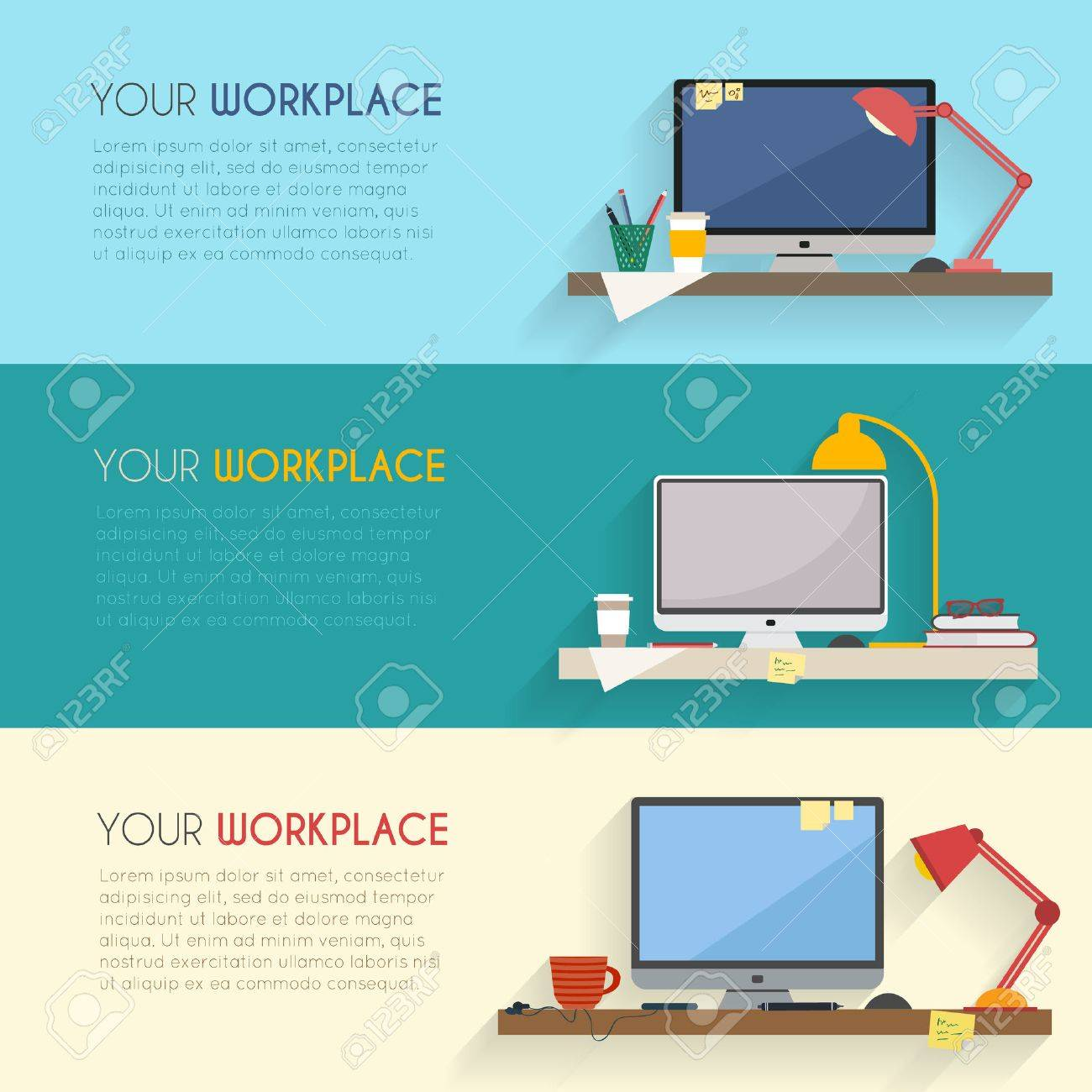 Home workplace flat vector design. Workspace for freelancer and home work. - 42450379