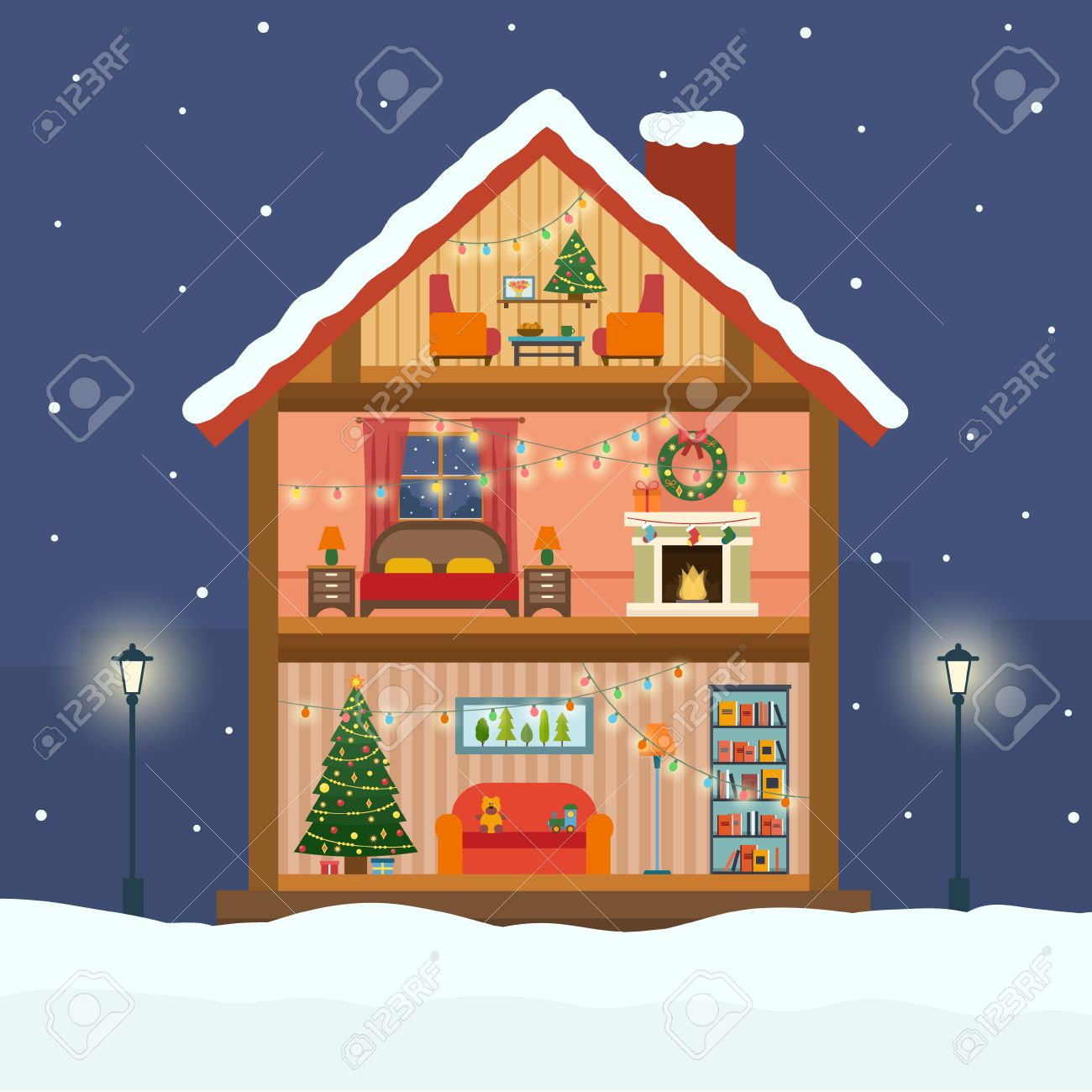 Christmas house with snow art - Christmas House In Cut With Snow House Interior With A Furniture Fireplace Christmas