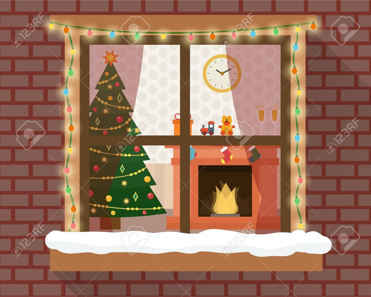 christmas room with furniture christmas tree and fireplace