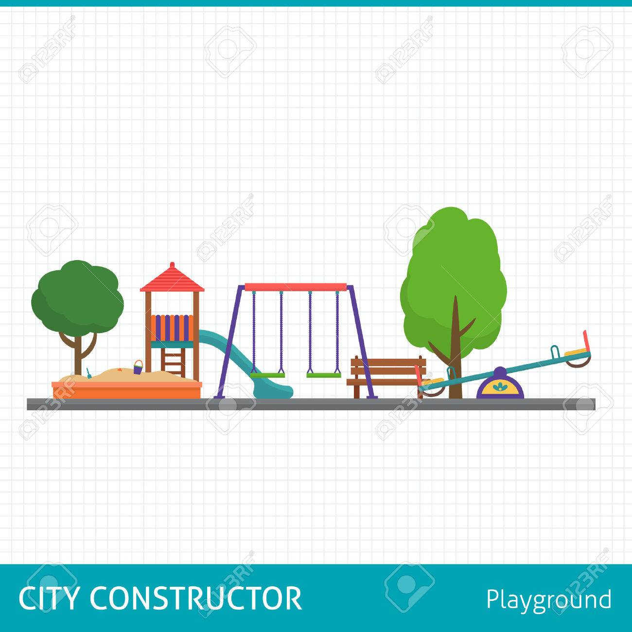 Kids playground set. Icons with kids swings and objects. Flat style vector illustration. - 48085492