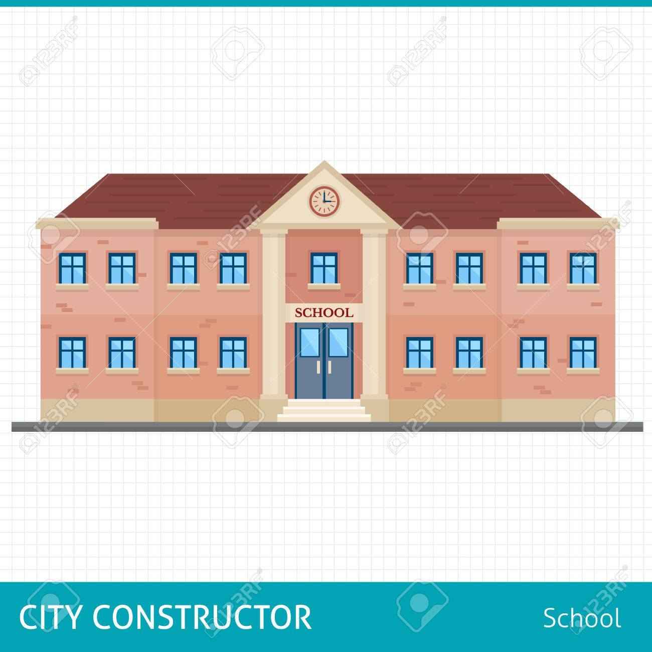 School and education. Buildings for city construction. Set of elements to create urban background, village and town landscape. Flat style vector illustration. - 48078002