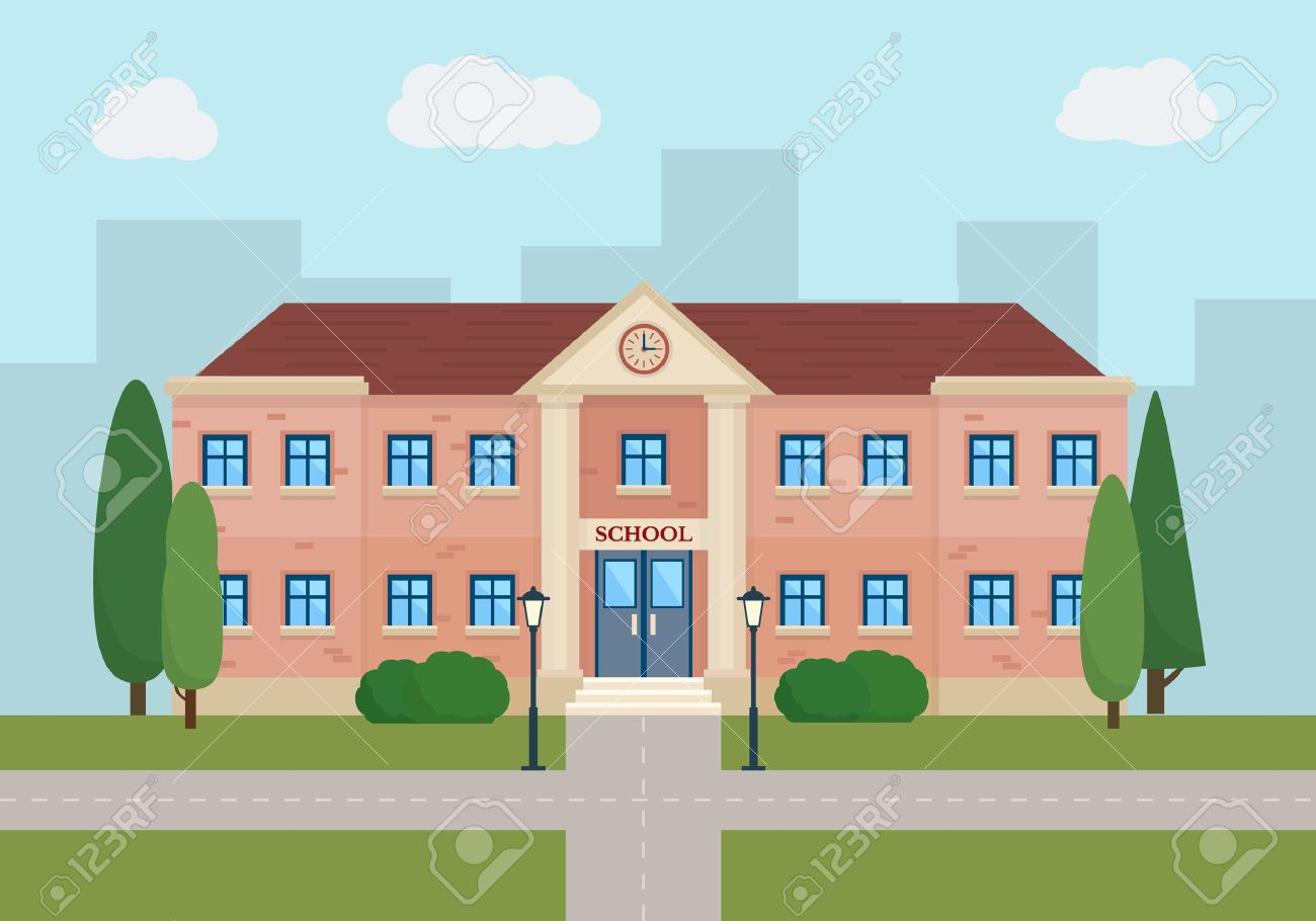 School and education. Buildings for city construction. Set of elements to create urban background, village and town landscape. Flat style vector illustration. - 48078003