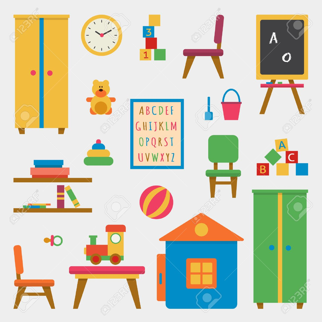 Kindergarten preschool playground. Childrens table with toys, wardrobe, cubes and chalk board. Flat style vector illustration. - 48776525