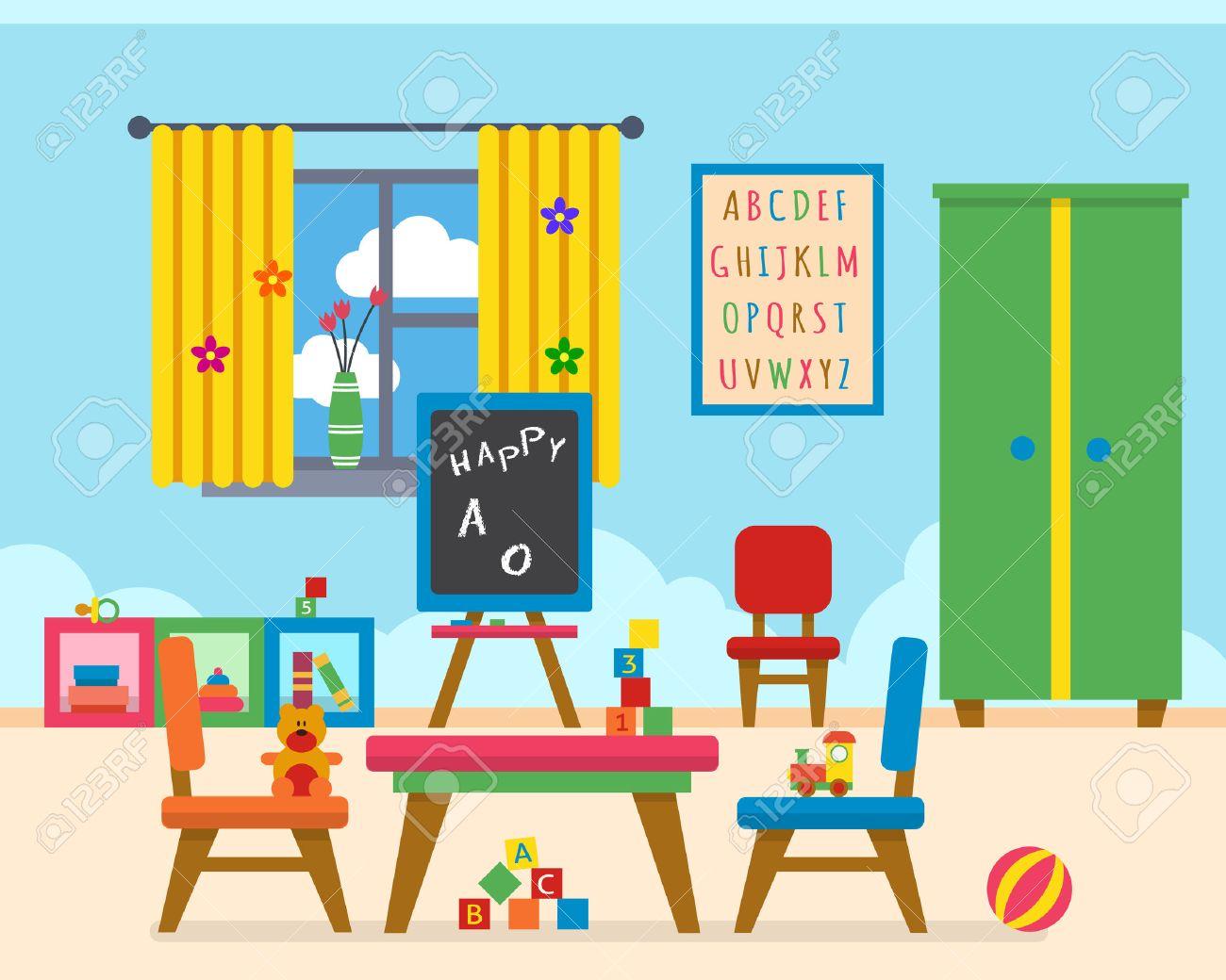 Foto De Archivo   Kindergarten Parque Infantil Preescolar. Mesa Para Niños  Con Juguetes, Armario, Cubos Y Pizarra. Ilustración Vectorial De Estilo  Flat.