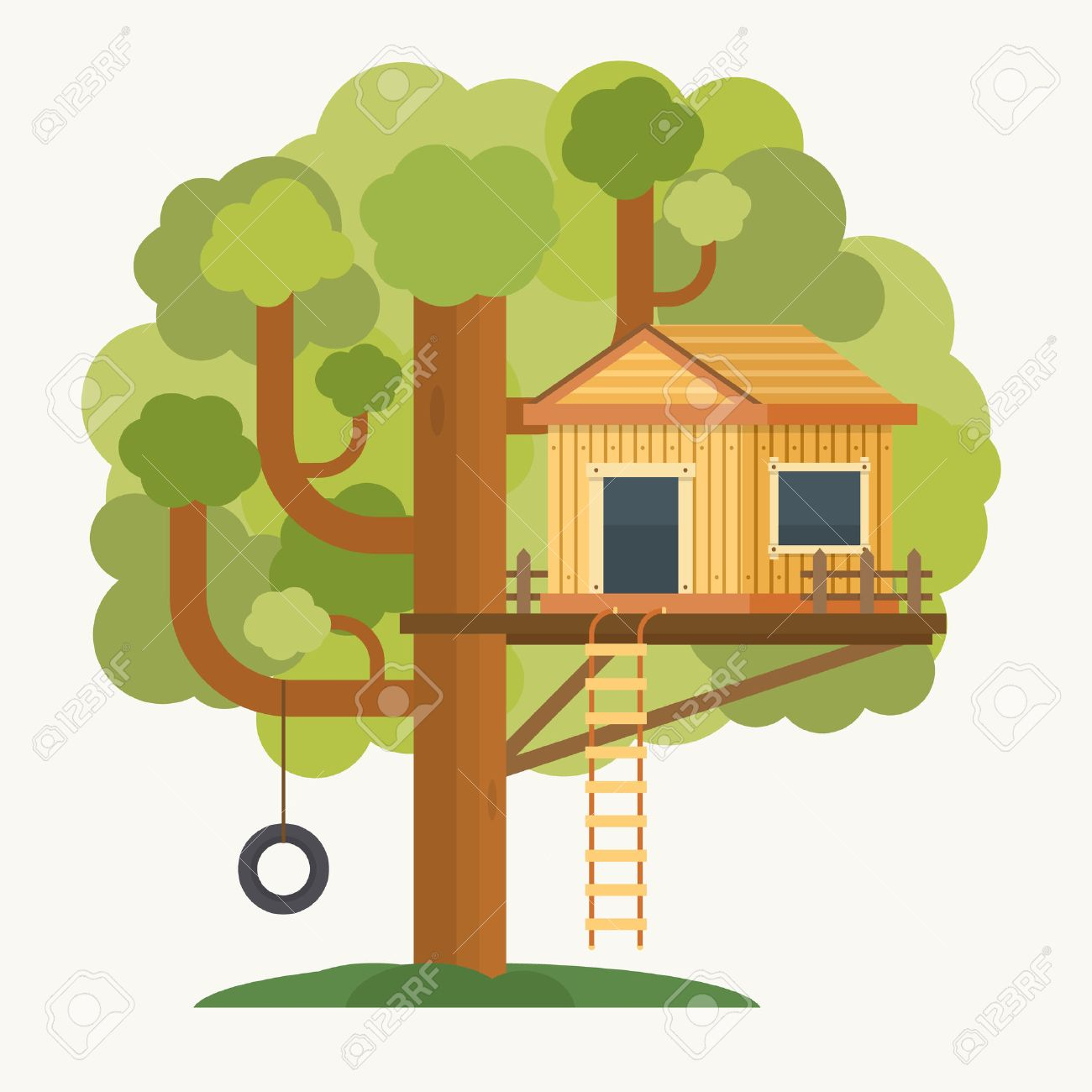 547 treehouse stock vector illustration and royalty free treehouse rh 123rf com Magic Tree House treehouse clipart free