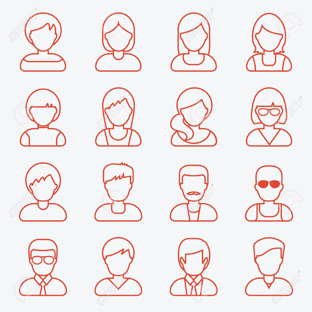 People userpics line icons in flat style in circle button. Different man and woman. Vector illustration. - 49176400