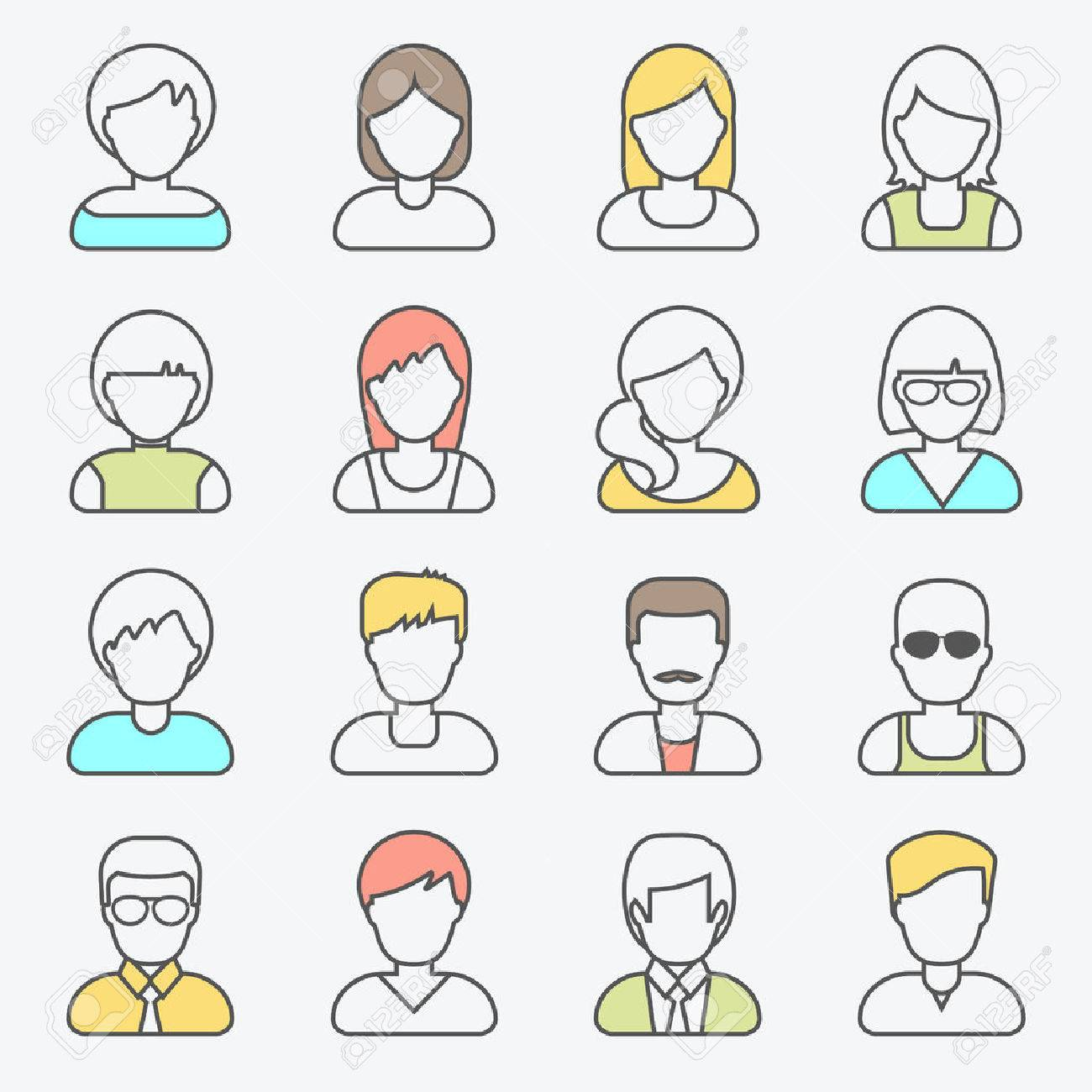 People userpics line icons in flat style in circle button. Different man and woman. Vector illustration. - 49176404