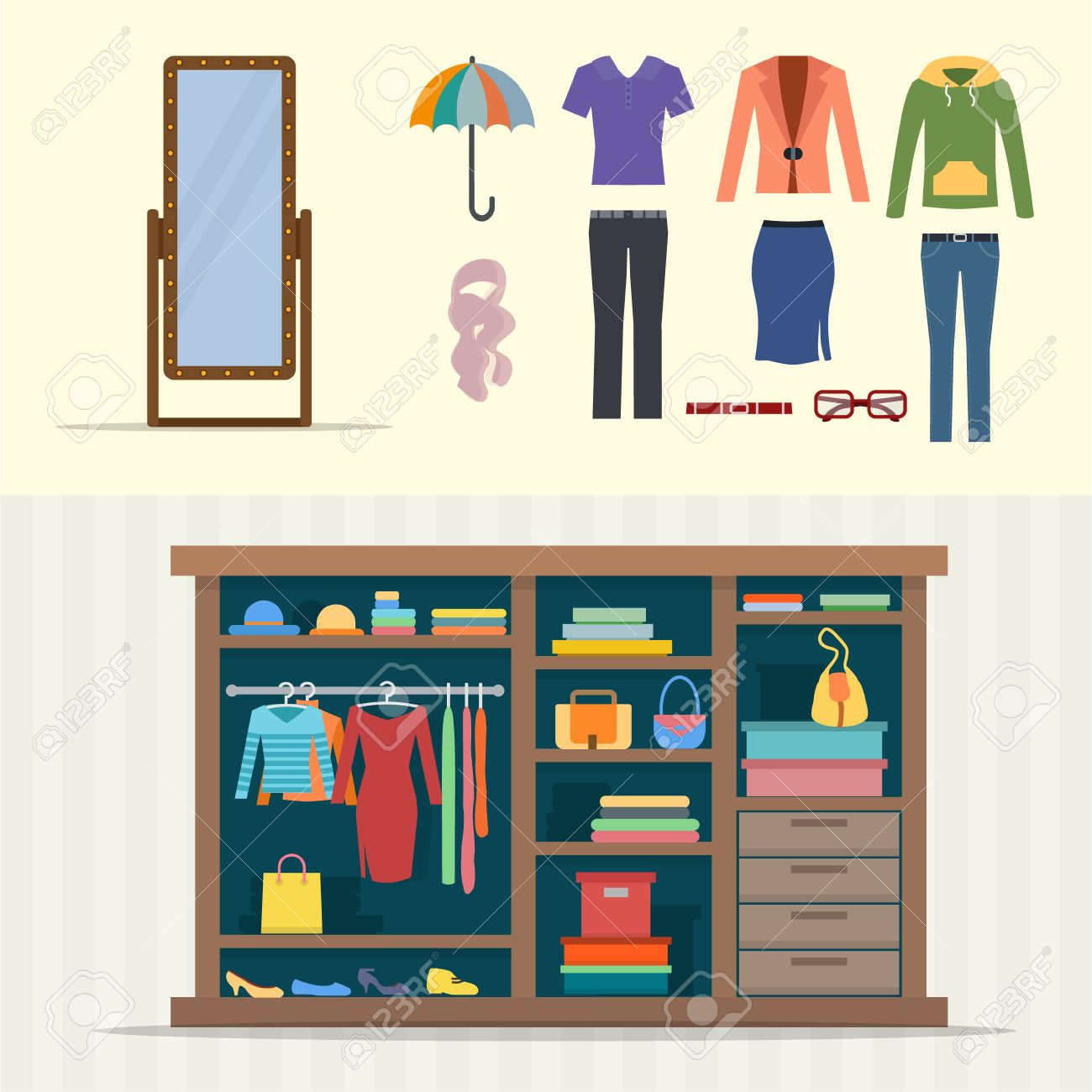 Vector   Wardrobe For Clothes. Closet With Clothes, Bags, Boxes And Shoes.  Mirror And Cloths Sets. Flat Style Vector Illustration.