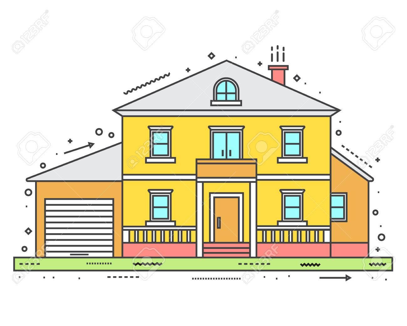 Modernes Haus In Dünne Linie Stil. Vektor-Illustration. Lizenzfrei ...