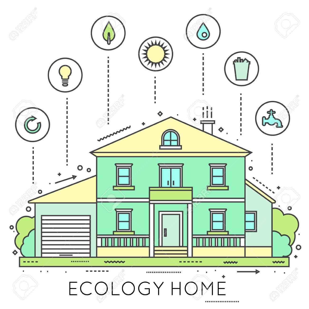 Umweltfreundliche Hause Infografik. Ökologie Grünen Haus. Haus In ...