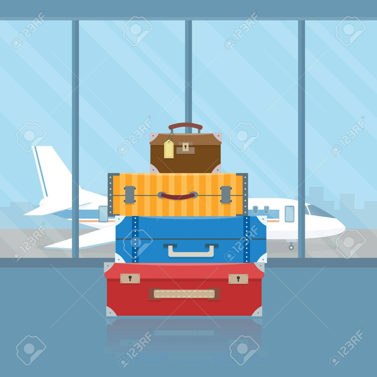Baggage in airport. Flat style vector illustration. - 52617169
