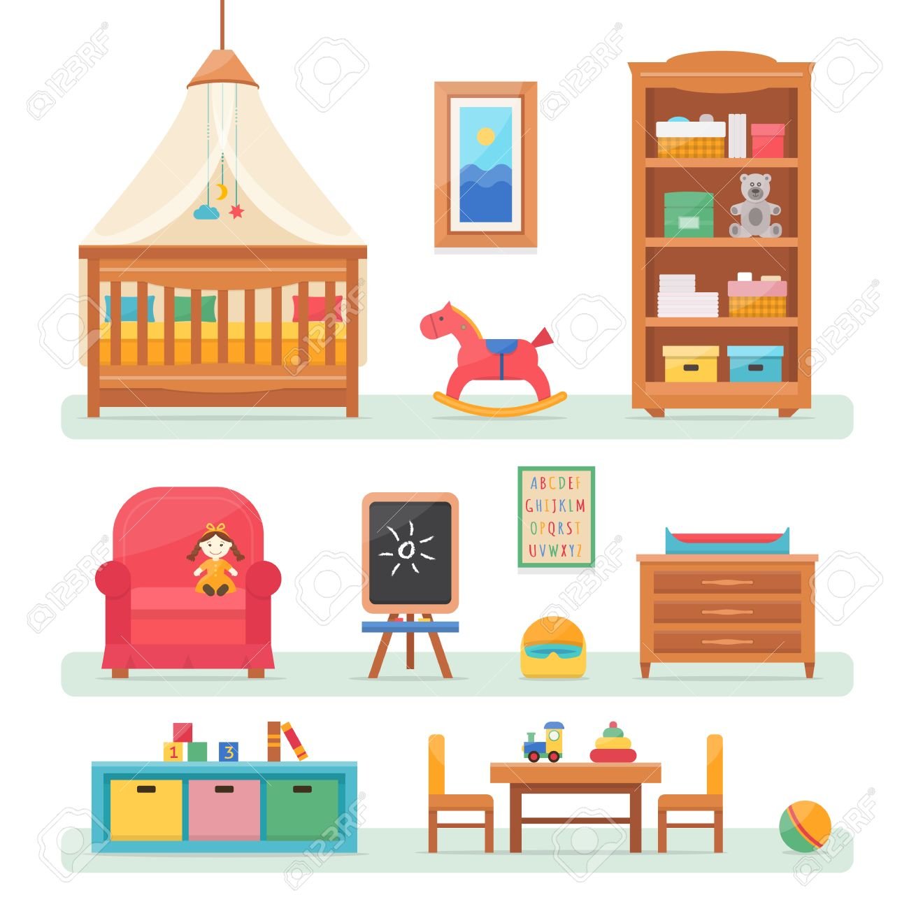 Baby room with furniture. Nursery and playroom interior. Flat style vector illustration. - 52617177