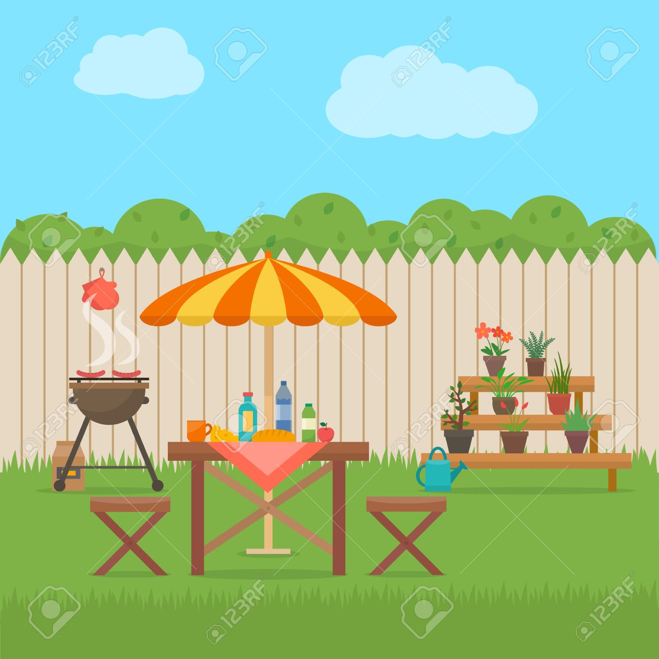 House backyard with grill. Outdoor picnic. Barbecue in patio. Flat style vector illustration. - 52617178