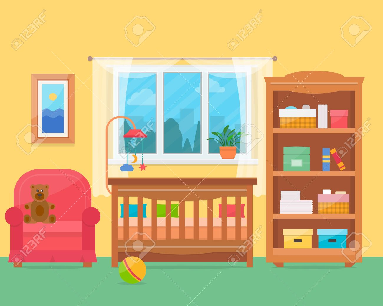 baby room with furniture nursery and playroom interior flat style vector illustration stock baby playroom furniture