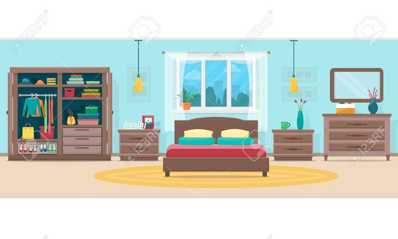 Bedroom with furniture and window. Wardrobe with clothes and mirror. Flat style vector illustration. - 52617183