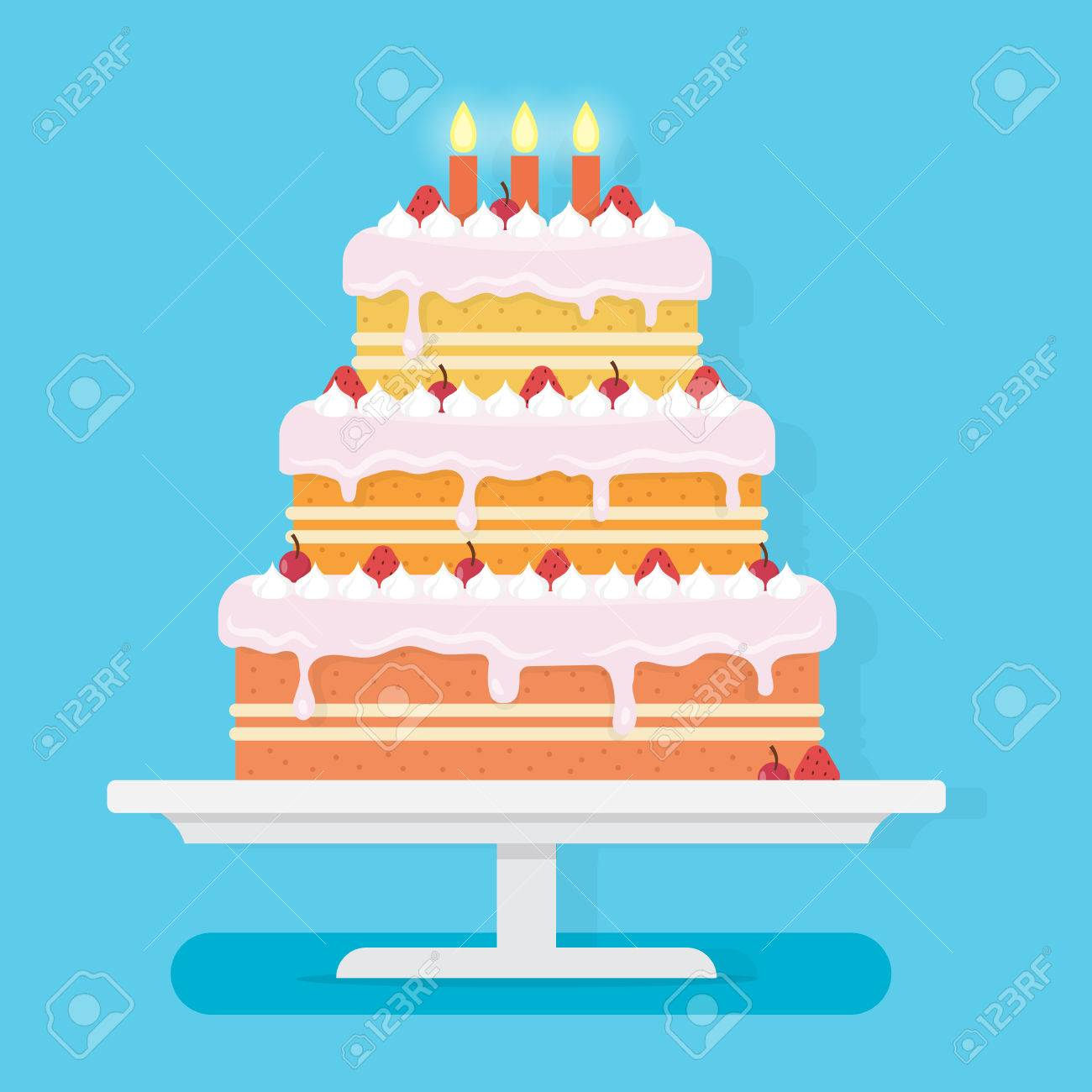 Happy Birthday Cake With Candles Party And Celebration Design