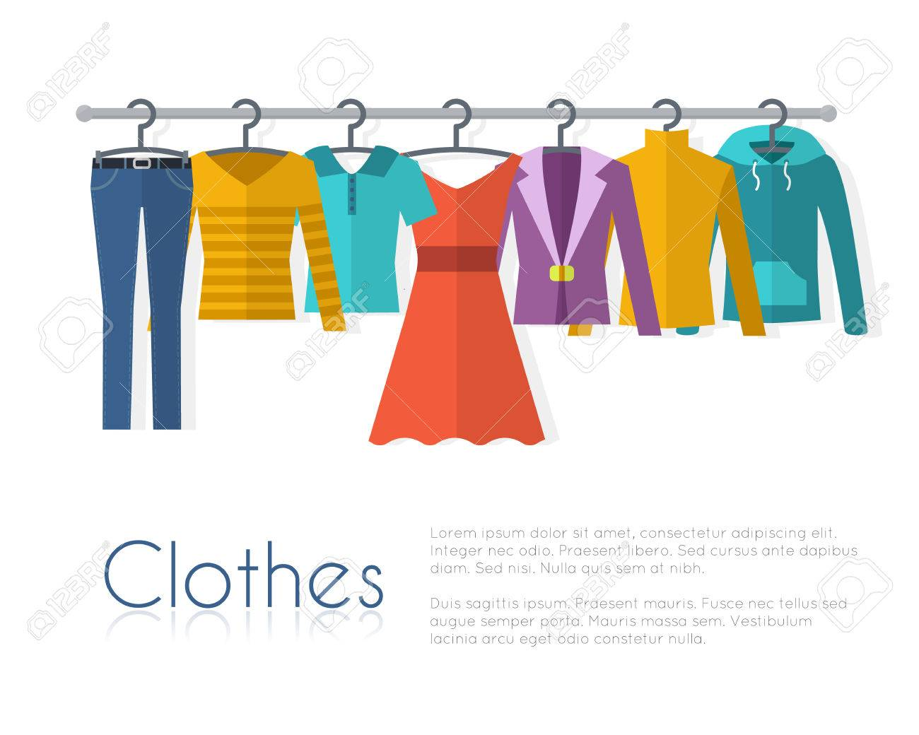 Racks with clothes on hangers. Flat style vector illustration. - 52617197
