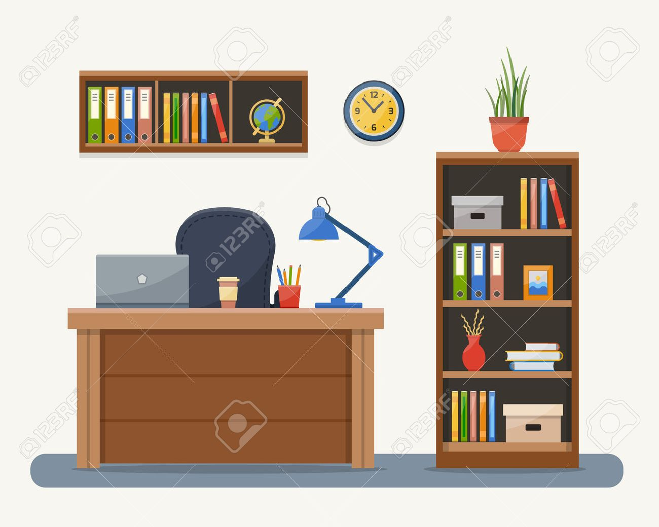 Workplace in office. Cabinet with workspace with table and computer. Flat style vector illustration with texture. - 52617199