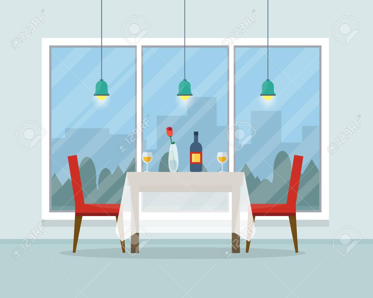 Dining table for date with glasses of wine, flowers and chairs. Flat style vector illustration. - 52617201