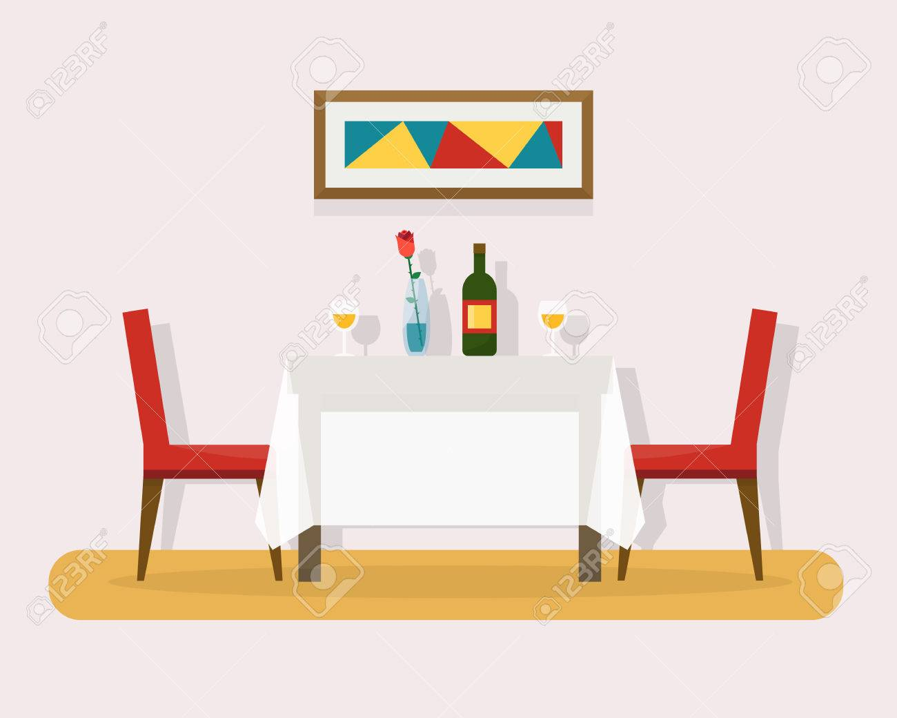 Dining Table For Date With Glasses Of Wine Flowers And Chairs Flat Style Vector