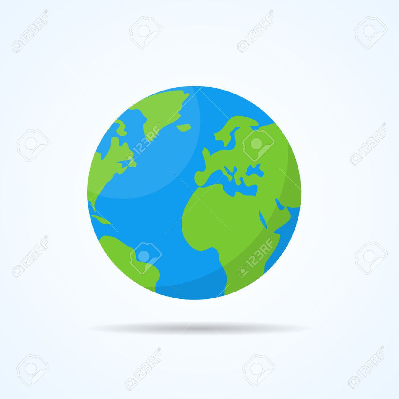 Earth planet with shadow. Flat style vector illustration. - 52617203