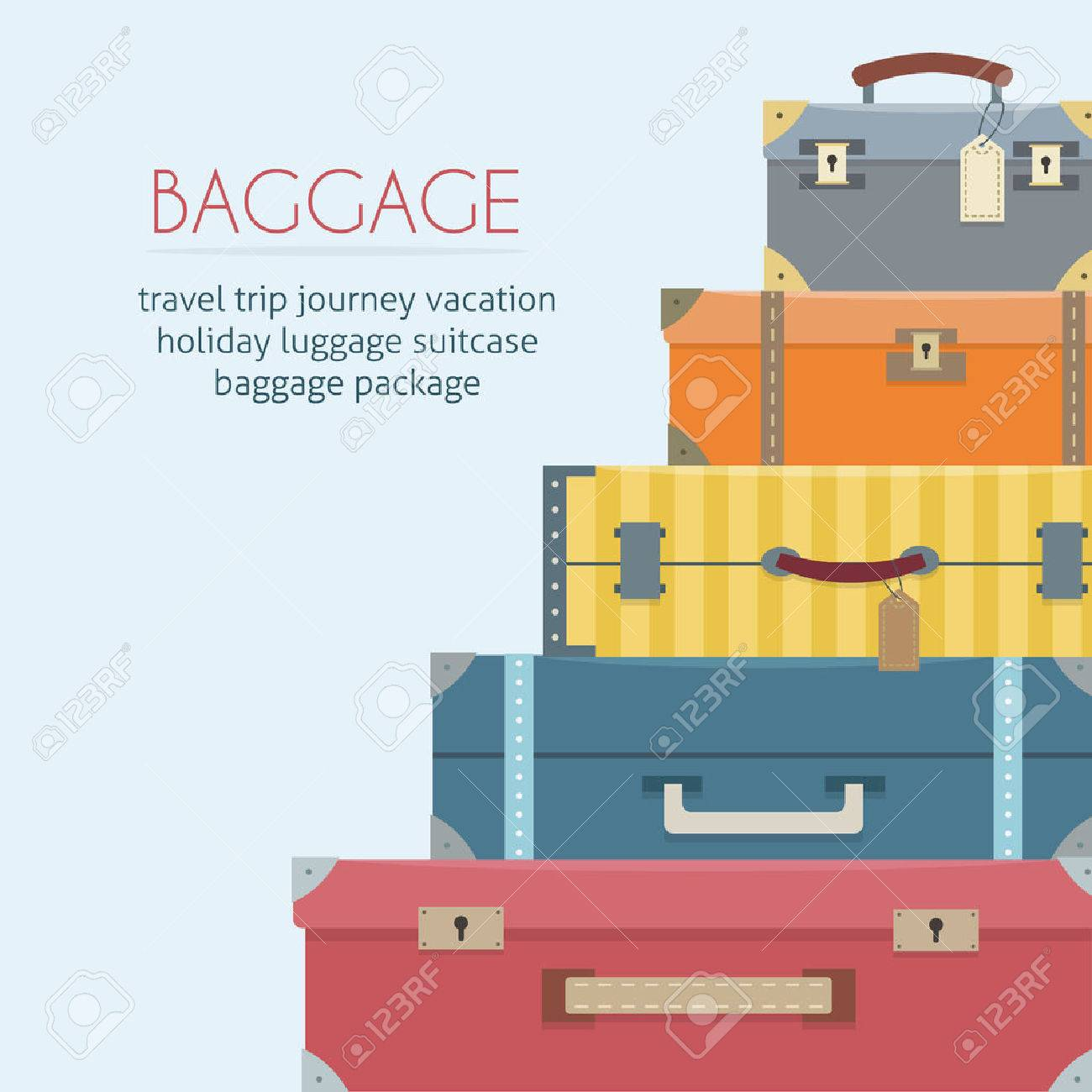 Baggage on background. Flat style vector illustration. - 52617211