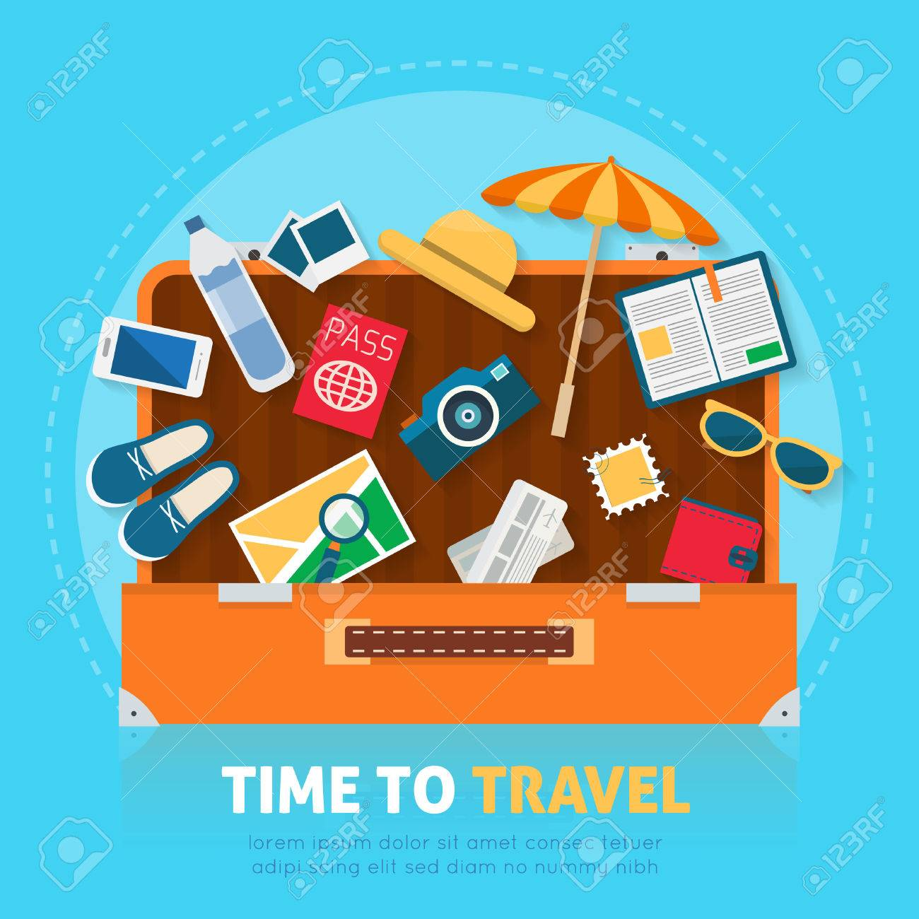 Open baggage, luggage, suitcases with travel icons and objects. Flat style vector illustration. - 52617219