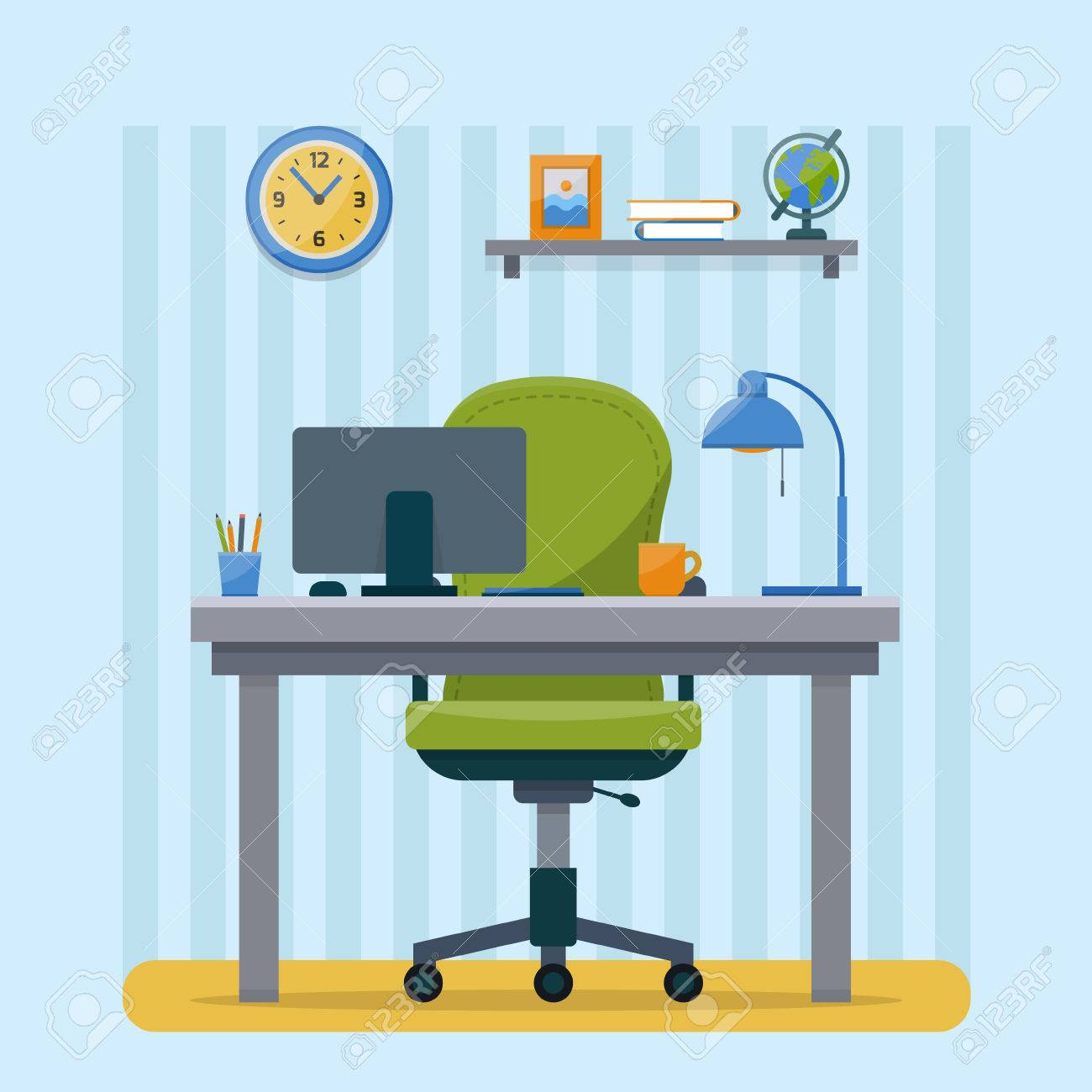 Workplace in office. Cabinet with workspace with table and computer. Flat style vector illustration with texture. - 52617220