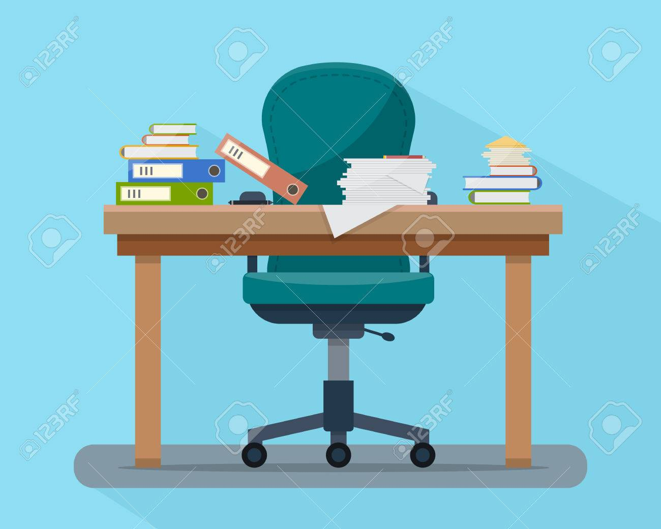 Busy cluttered office table. Hard work. Office interior with books, folders, papers and letters on table. Flat style vector illustration. - 52617223