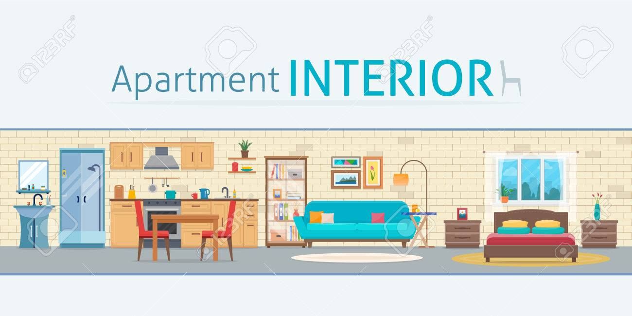 Apartment inside. Detailed modern house interior. Rooms with furniture. Flat style vector illustration. - 60322505