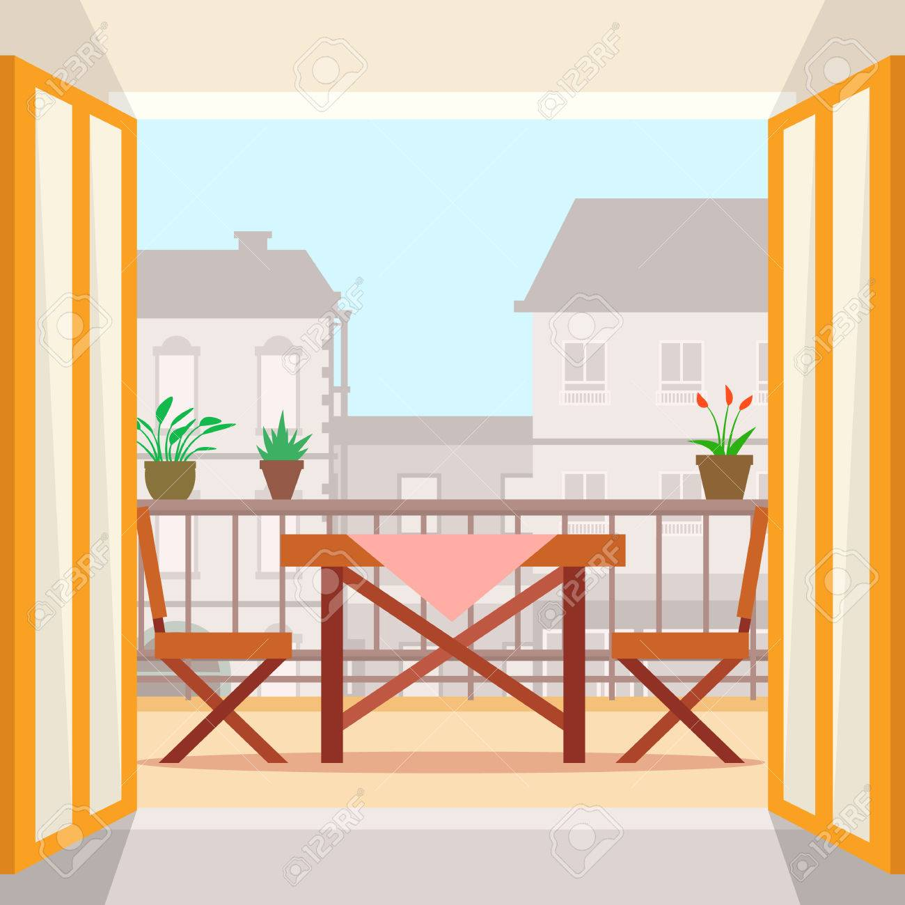 Table and chairs on the balcony. Flat style vector illustration. - 60322506