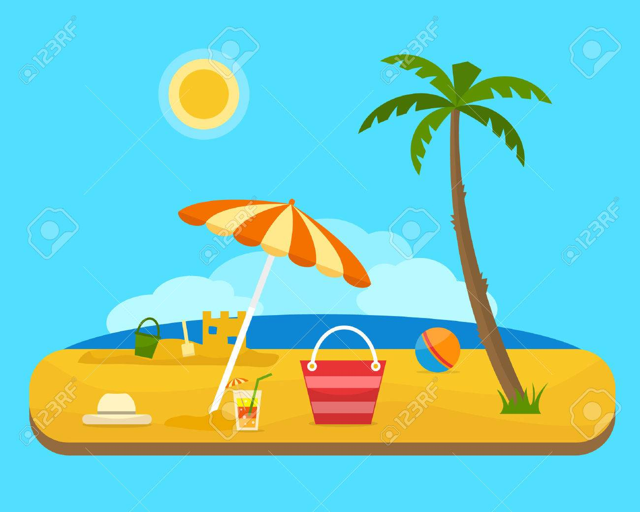 Relax and play on the beach under a palm tree. Umbrella, ball and beach bag with sea on tropical background. Sand castle. Flat style vector illustration. - 60322516