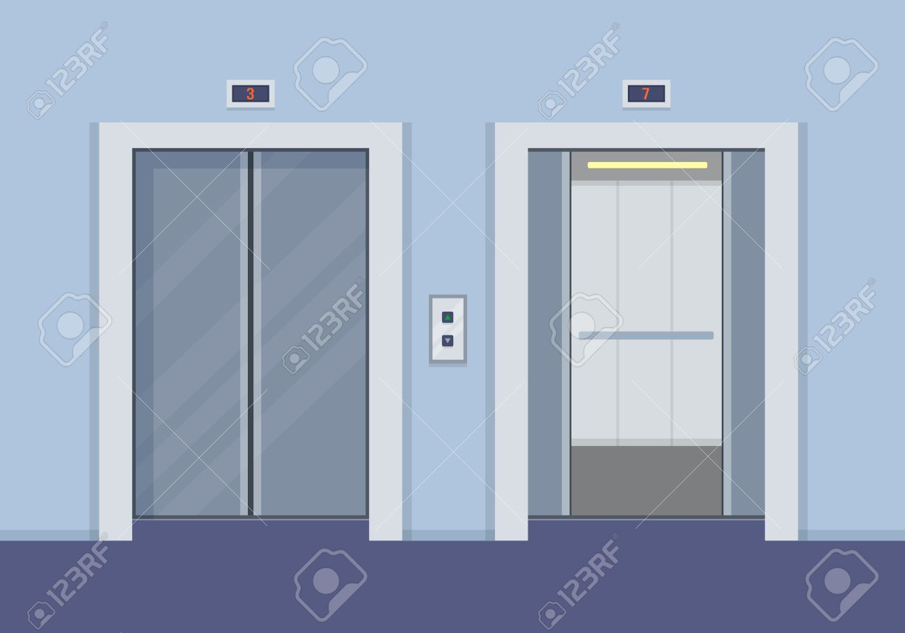 Elevator doors, open and close. Flat style vector illustration. - 59277848