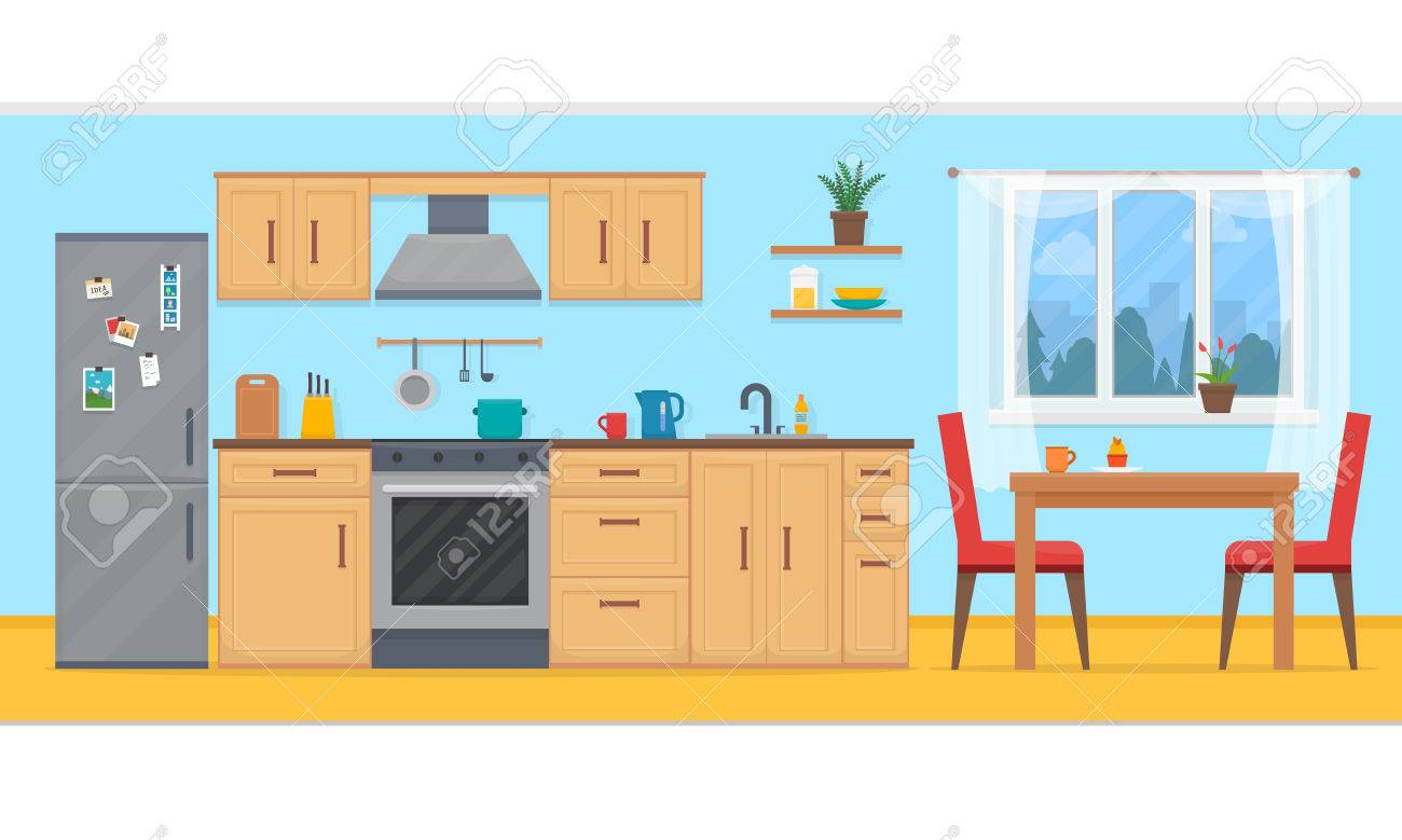 Kitchen With Furniture Set Cozy Kitchen Interior With Table