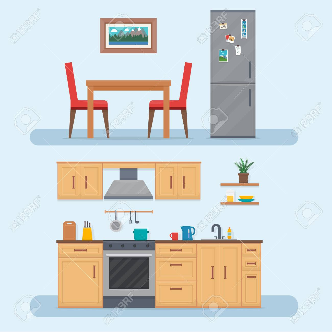 Kitchen with furniture set. Cozy kitchen interior with table, cupboard and dishes. Flat style vector illustration. - 59359678