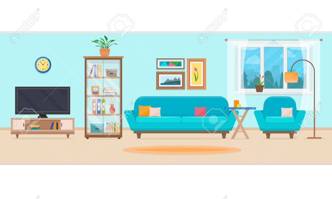 Living room with furniture. Cozy interior with sofa and tv. Flat style vector illustration. - 60323621