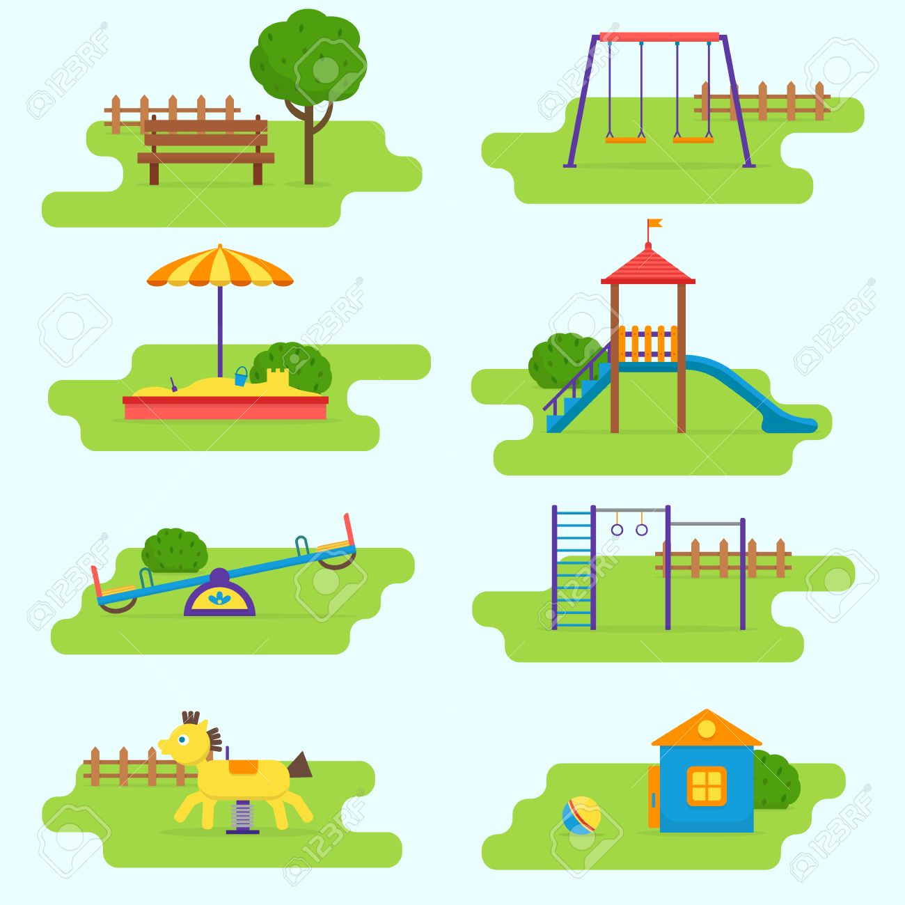 Kids playground set. Icons with kids swings and objects. Flat style vector illustration. - 60323624