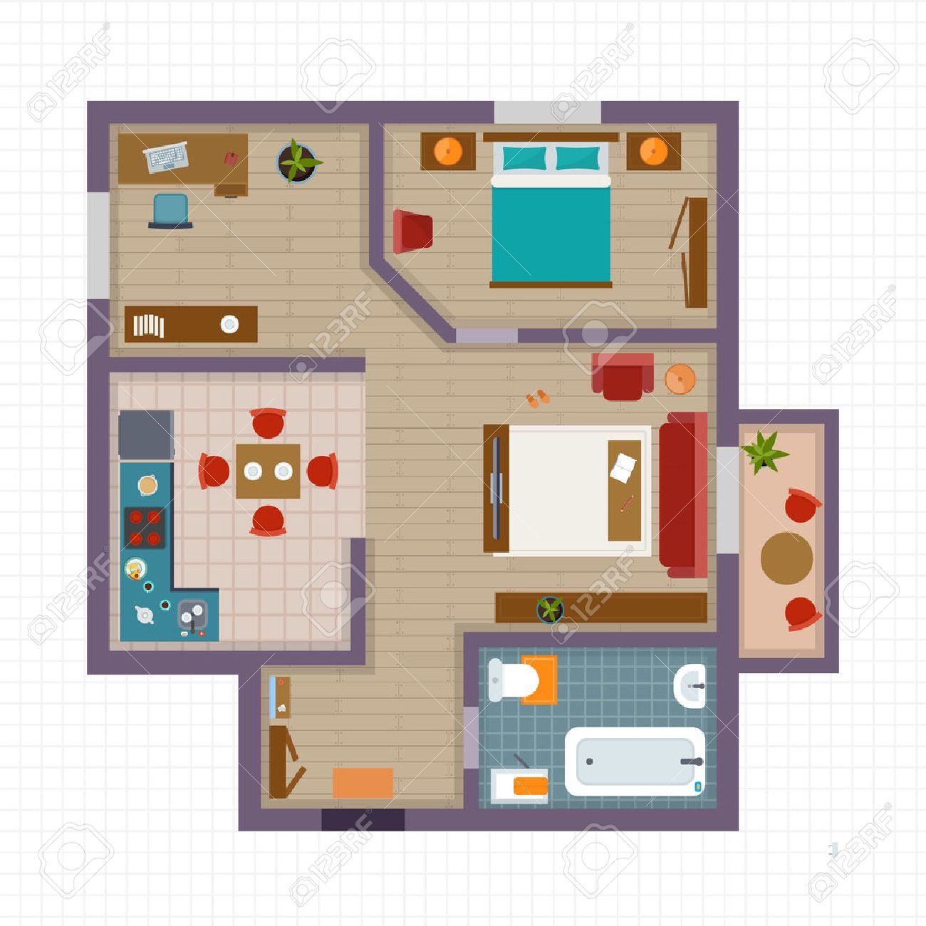 Detailed apartment furniture overhead top view. Apartment room plan. Flat style vector illustration. - 60323661