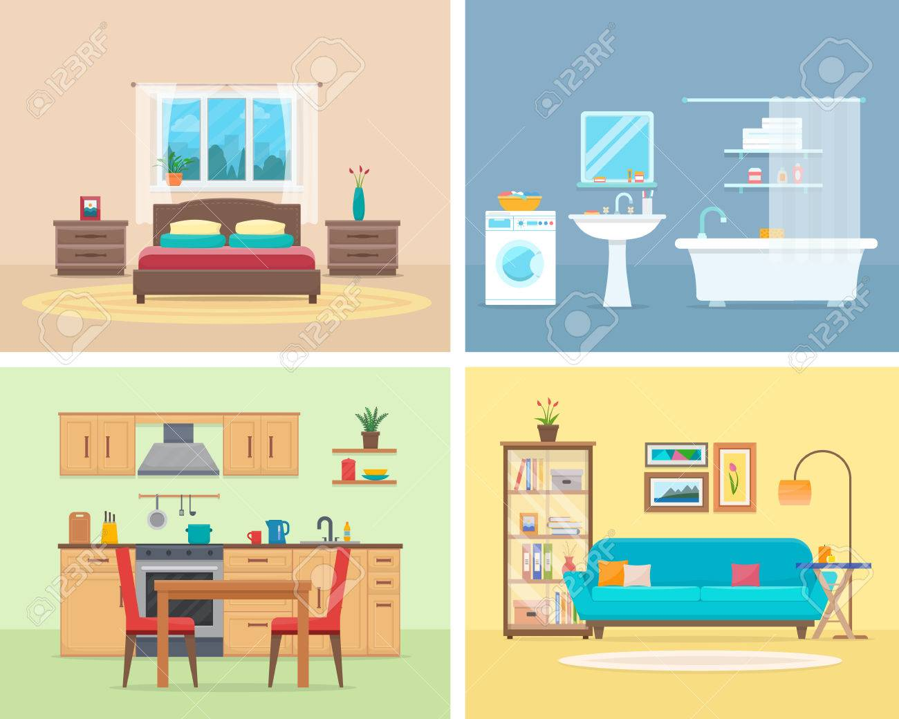 Apartment inside. Detailed modern house interior. Rooms with furniture. Flat style vector illustration. - 68424186