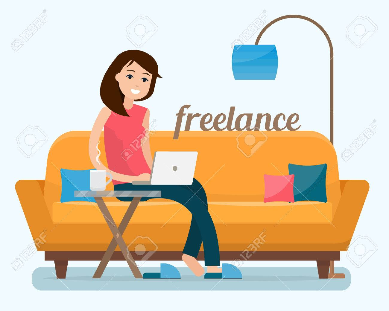 Freelancer woman with computer on sofa at home. Flat style vector illustration. - 68424220