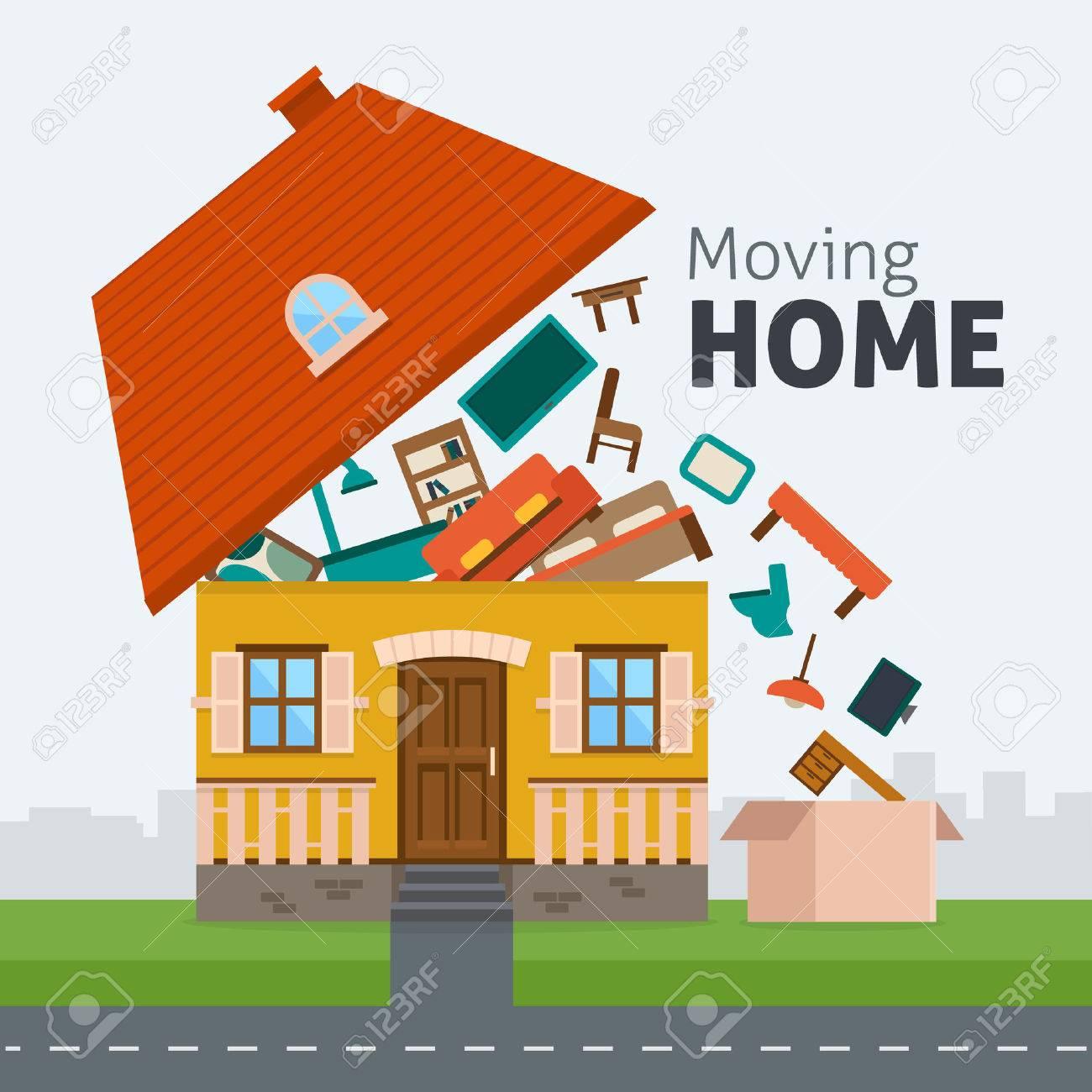 Umzug Nach Hause Familie Aus Dem Haus Mit Mobeln Im Feld Zu Bewegen