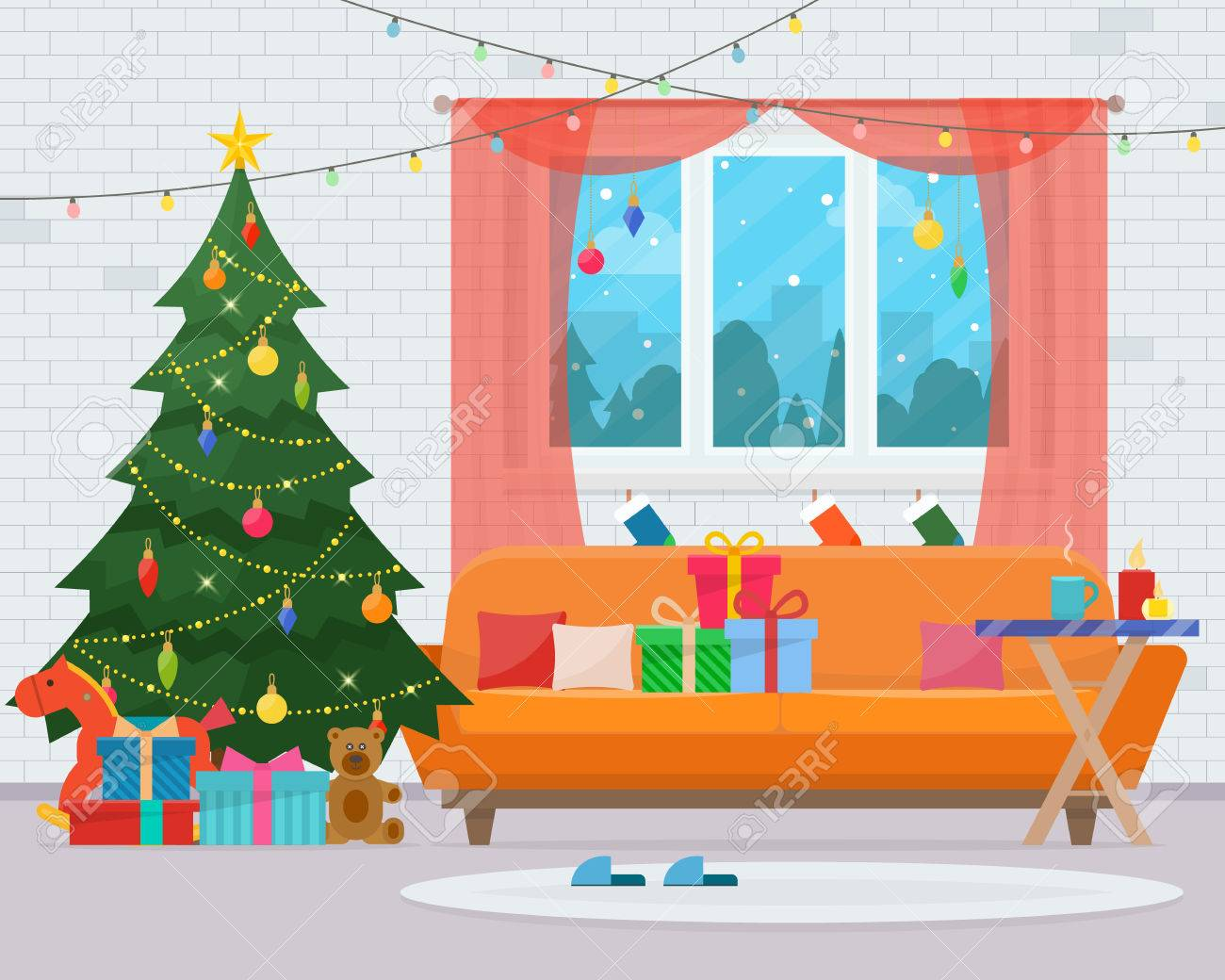 Christmas room interior. Christmas tree, sofa, gifts and decoration. Cozy home holiday. Flat style illustration. - 65709035