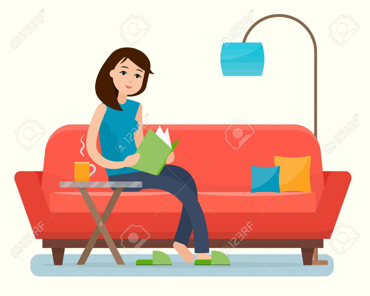 b9f91a123667 Young Woman Reading Book On Sofa At Home. Royalty Free Cliparts ...