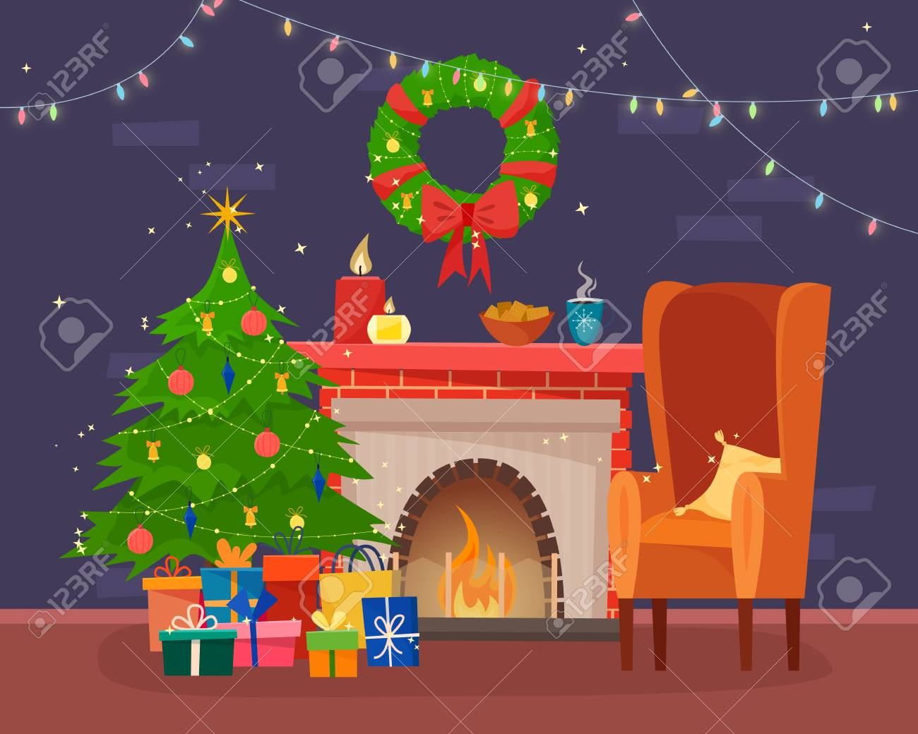 Sedie Decorate Per Natale : Immagini stock sedie e tavolo con cus di tè o caffè biscotti e